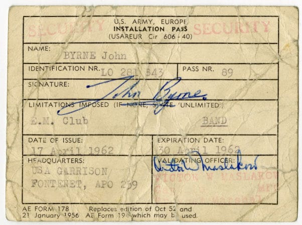 Johnny Guitar Signed Army Installation Pass