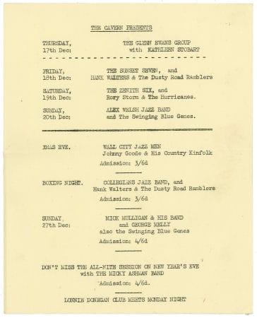 Johnny Guitar Cavern Club Handbill