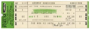 George Harrison concert ticket Memorabilia