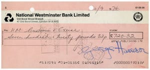 George Harrison signed cheque