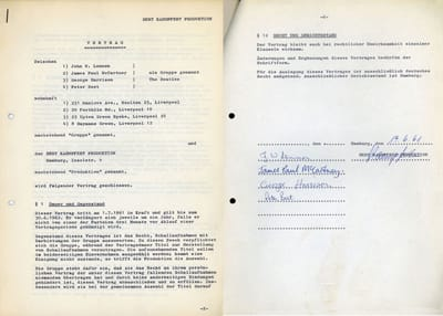 The Beatles 1961 German Recording Contract