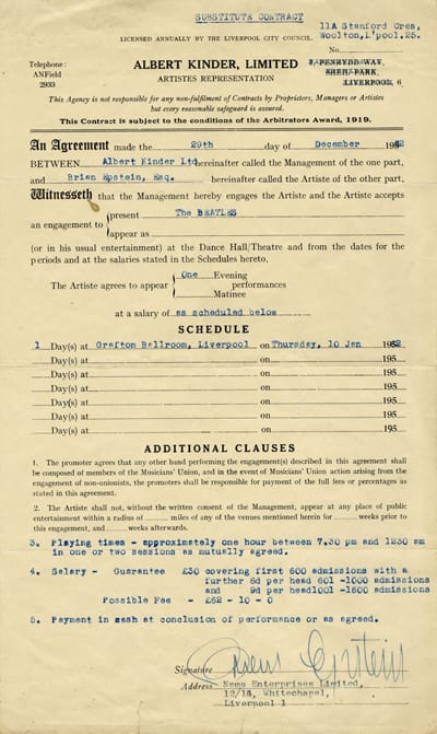 The Beatles Grafton Ballroom Performance Contract 10th January 1963 Signed By Brian Epstein