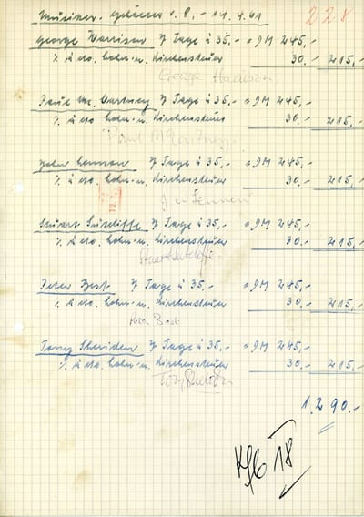 Signed Top Ten Clubs Beatles Wage Receipt