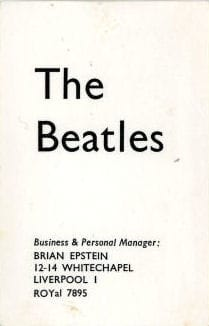 Brian Epstein The Beatles Business Card