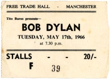 Bob Dylan Concert Ticket Stub from Manchester Trade Hall