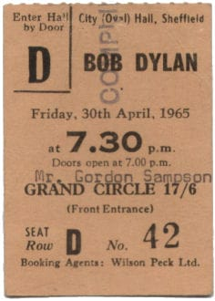 Bob Dylan Concert Ticket Stub from Sheffield