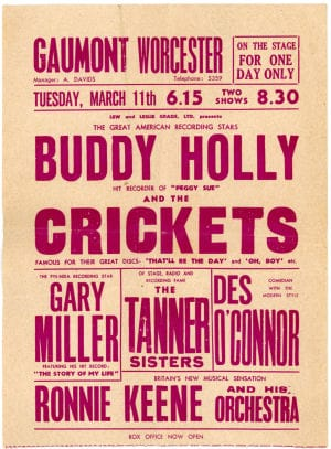 Buddy Holly Concert Handbills