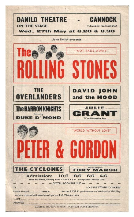 A Rolling Stones Concert Poster, Danilo Theatre, Cannock, 27th May 1965