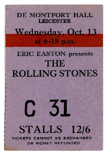The Rolling Stones Ticket Stub - Eric easton presents the Rolling Stones 13th October Leicester
