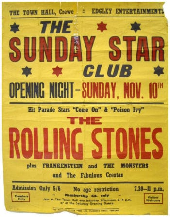 A Rolling Stones Concert Poster, Crewe Town Hall, 10th November 1963