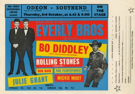 A Rolling Stones Concert Poster For Odeon Southend, 3rd October 1963