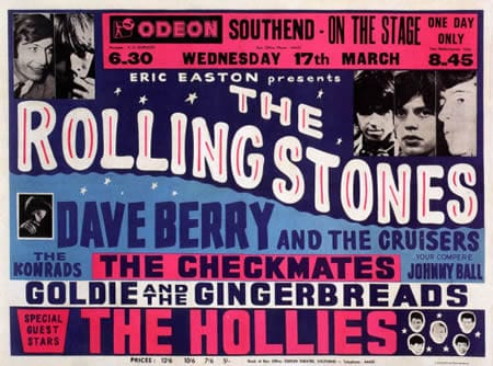 A Rolling Stones Concert Poster, Southend Odeon, 17th March 1965