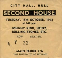 The Rolling Stones Ticket Stub with Johnny Kidd, Heinz etc 15th October 1963