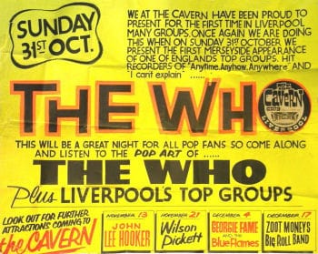 A The Who Concert Poster For The Cavern Club, Liverpool 31st October 1965.