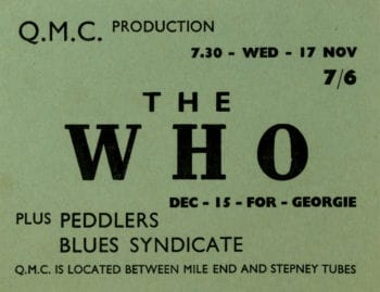 The Who Original Concert Ticket betwwen mile end and stepney tubes