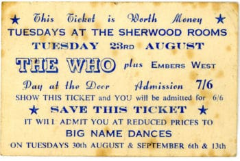 The Who Original Concert Ticket at the Sherwood rooms