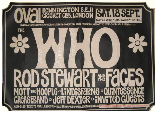 A The Who Concert Poster For The Kennington Oval Cricket Club, London 18th September 1971