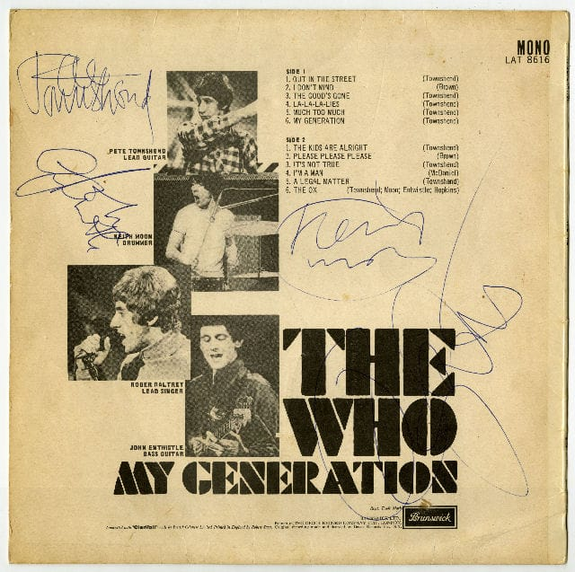 The Who My Generation Signed Album
