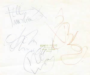 The Who 1960s Signatures on a peice of paper